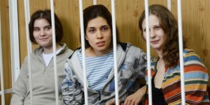 Pussy Riot members behind bars in a Moscow court