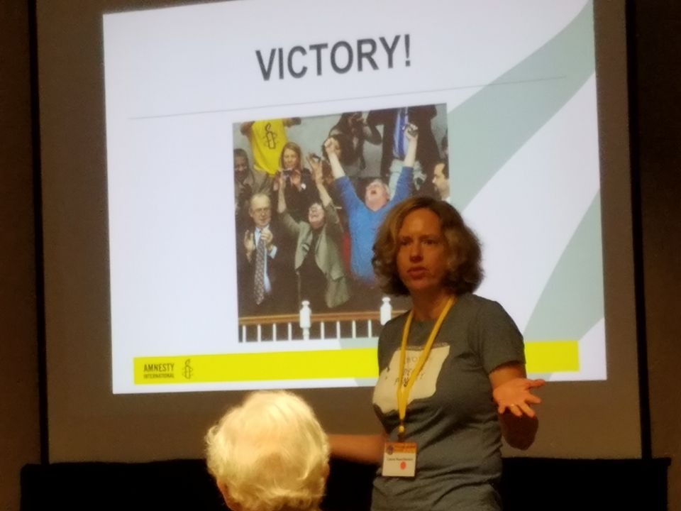 AI WA State Death Penalty Coordinator Laura Nuechterlein gives a presentation at the 2016 Western Regional Conference in LA